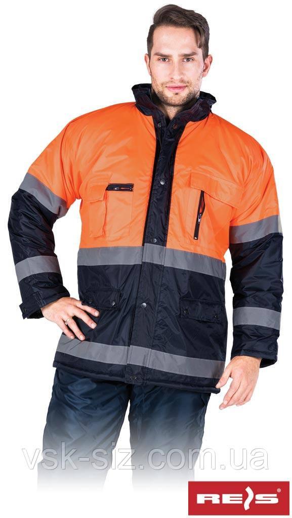 Зимняя куртка с отражающими полосками REIS BLUE-ORANGE.