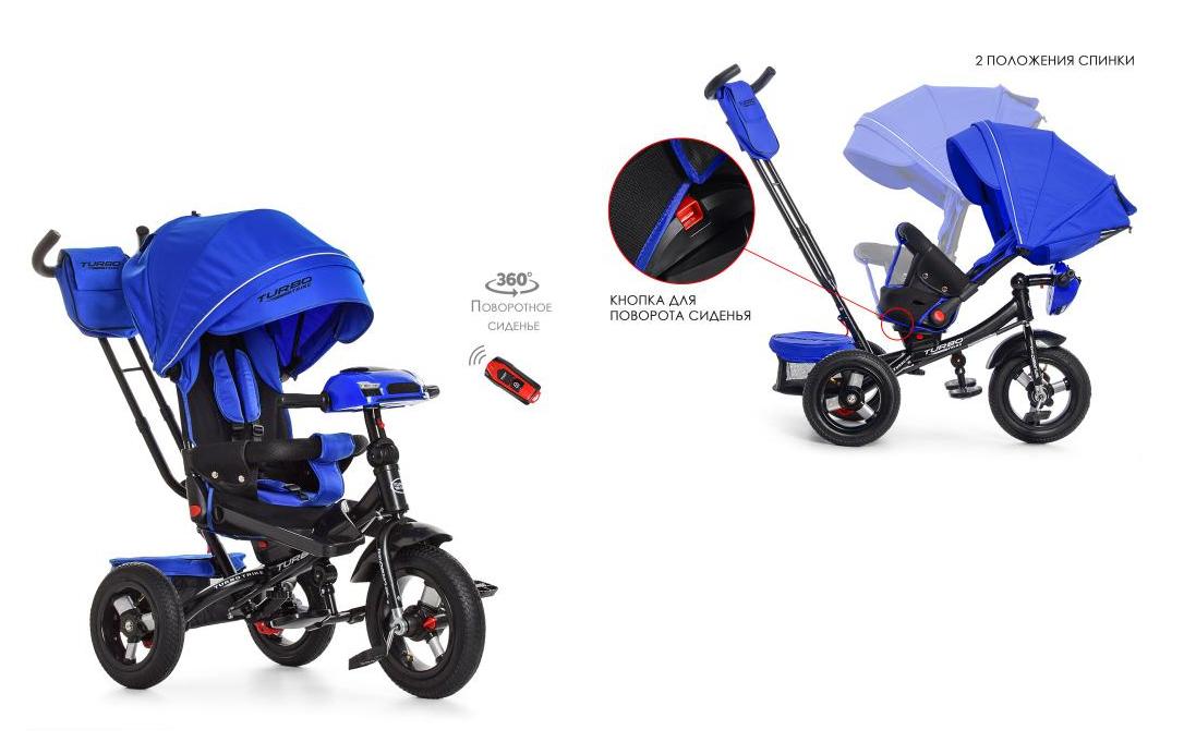 Дитячий велосипед синій коляска Турбо Трайк M 4060-10 з USB+ пульт, поворот - нахил сидіння