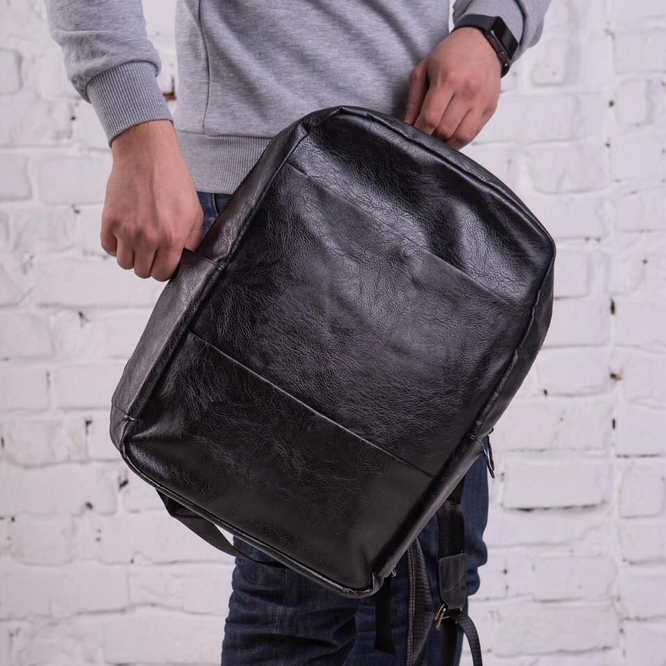bcb2afeb93dd Премиум мужской кожаный рюкзак - сумка черный, без бренда , цена 790 ...