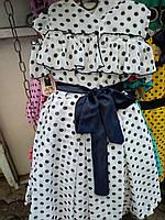 Пышное  шифоновое  платье на девочку в горошек с рюшей белый