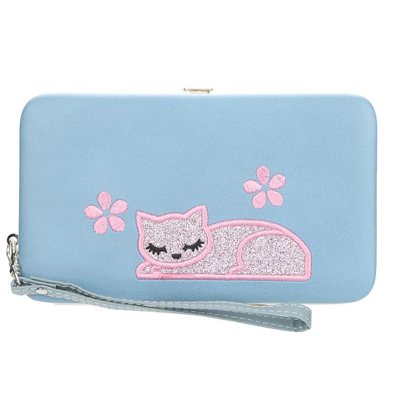 Жіночий гаманець BAELLERRY Cat Style Wallet клатч з ремінцем Блакитний (SUN3567)
