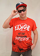 Футболка мужская с коротким рукавом и принтом Joker от M до XXL Красный, L