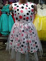 Красивое атласное  платье на выпускной 110р-134р в горошек