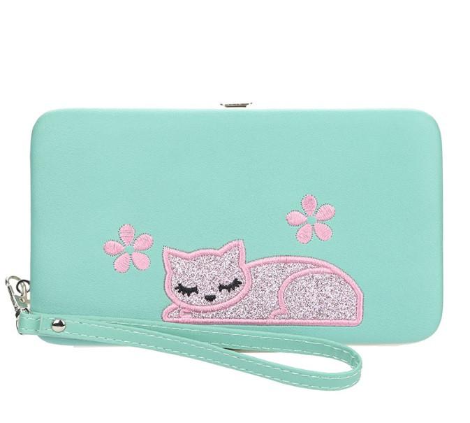 Жіночий гаманець BAELLERRY Cat Style Wallet клатч з ремінцем Зелений (SUN3570)