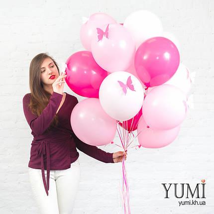 Связка для девочки из 15 шариков с гелием и бабочками, фото 2