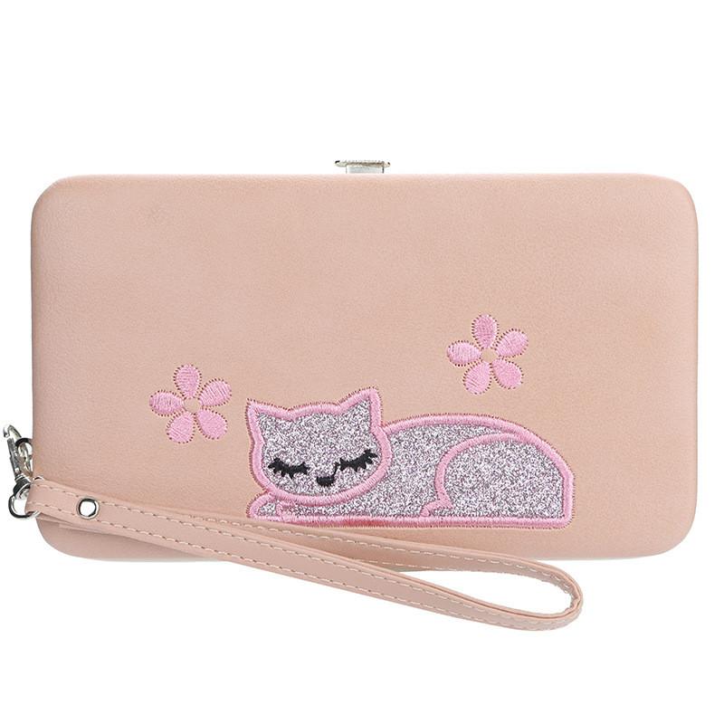 Жіночий гаманець BAELLERRY Cat Style Wallet клатч з ремінцем Світло-Рожевий (SUN3571)