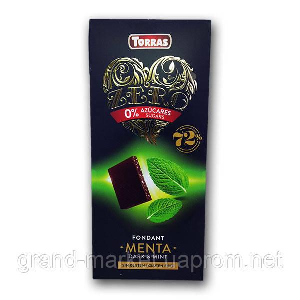 """Шоколад чорний з м'ятою (без цукру і глютену) """"Torras Zero"""" 100 g"""