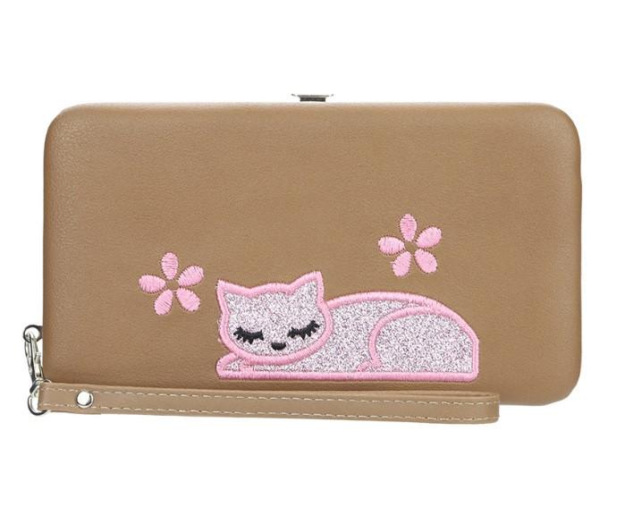Жіночий гаманець BAELLERRY Cat Style Wallet клатч з ремінцем Коричневий (SUN3572)