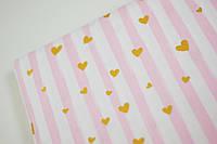 """Бязь """"Золотые глиттерные сердечки на розово-белой полоске"""", 100% хлопок. Ширина 160 см, фото 1"""