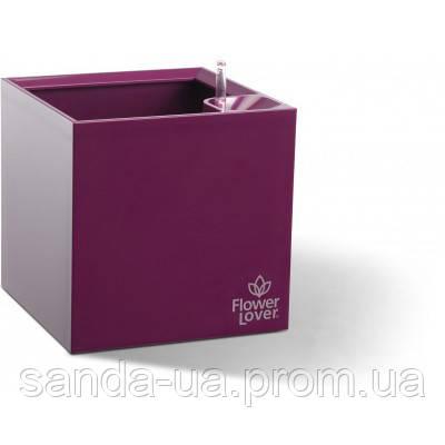 Вазон с оросительной системой Cubico Flower Lover пурпурный глянцевый 41118063