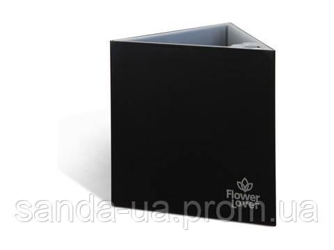 Вазон с оросительной системой Triangle Flower Lover черный глянцевый 4111813