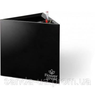 Вазон с оросительной системой Triangle Flower Lover черный глянцевый 4111808