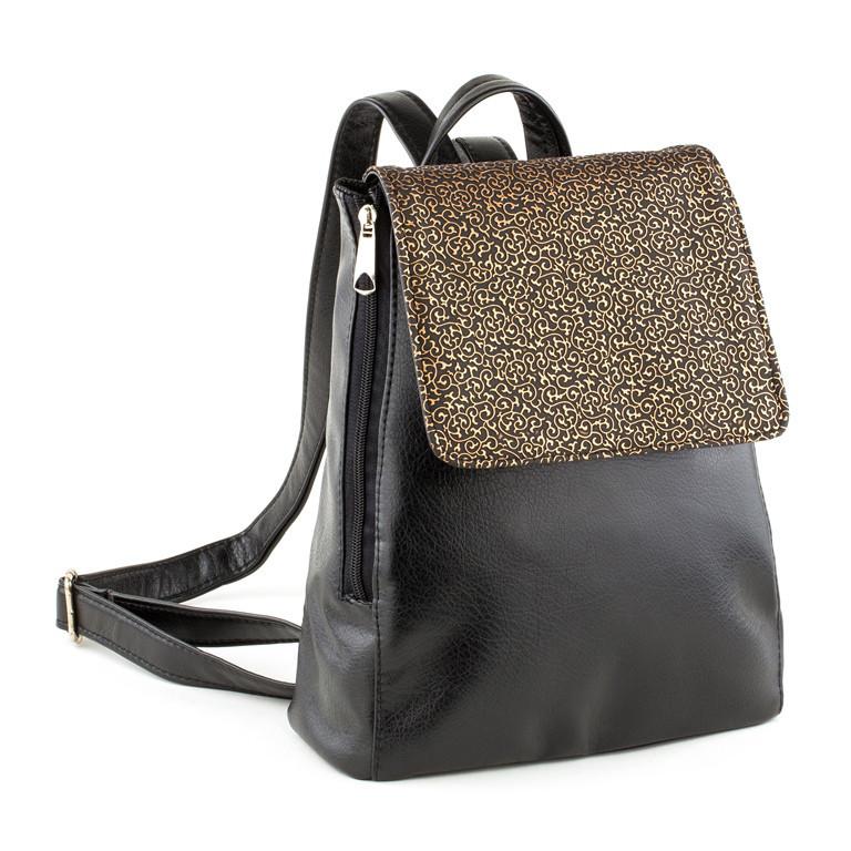 Рюкзак с клапаном черный титан и золотой узор