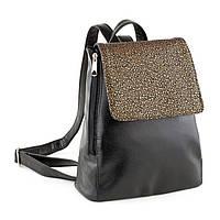 Рюкзак с клапаном черный титан и золотой узор, фото 1