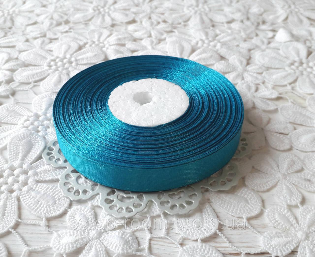 Лента атласная 1,2 см бирюзовая, лента бирюзовая атлас, лента атласная мятная, цена за метр