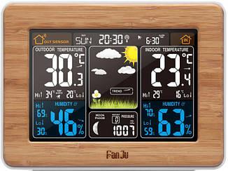 Метеостанция FanJu FJ3365 гигрометр/термометр с большим цветным дисплеем и внешним радио датчиком. Дерево