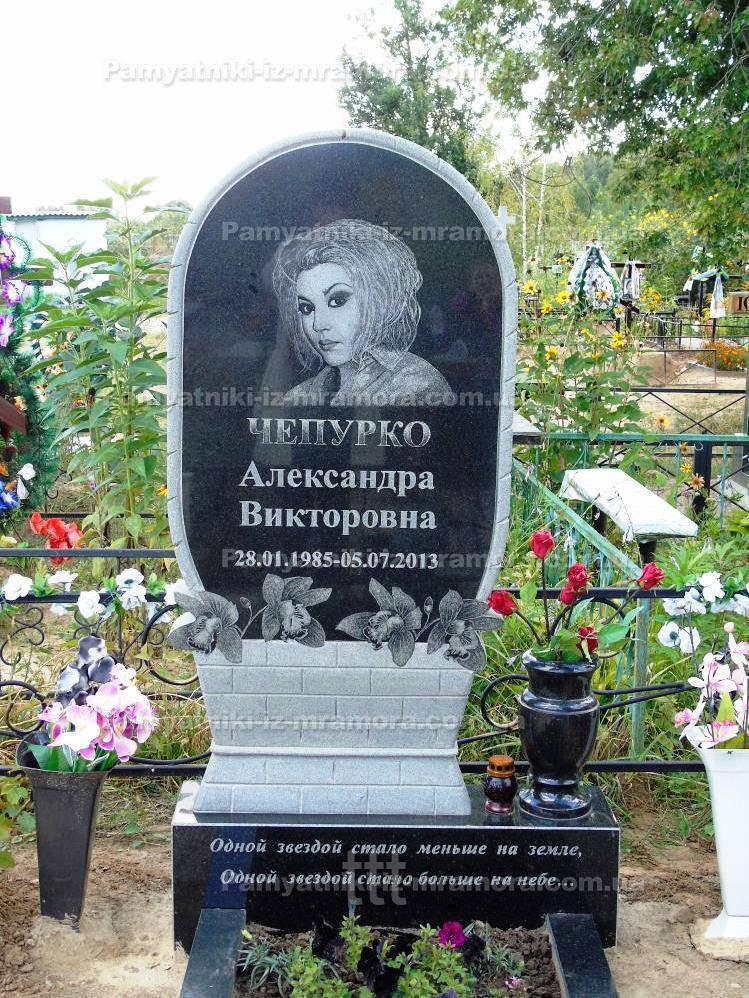 Памятник корзина с орхидеями № 18