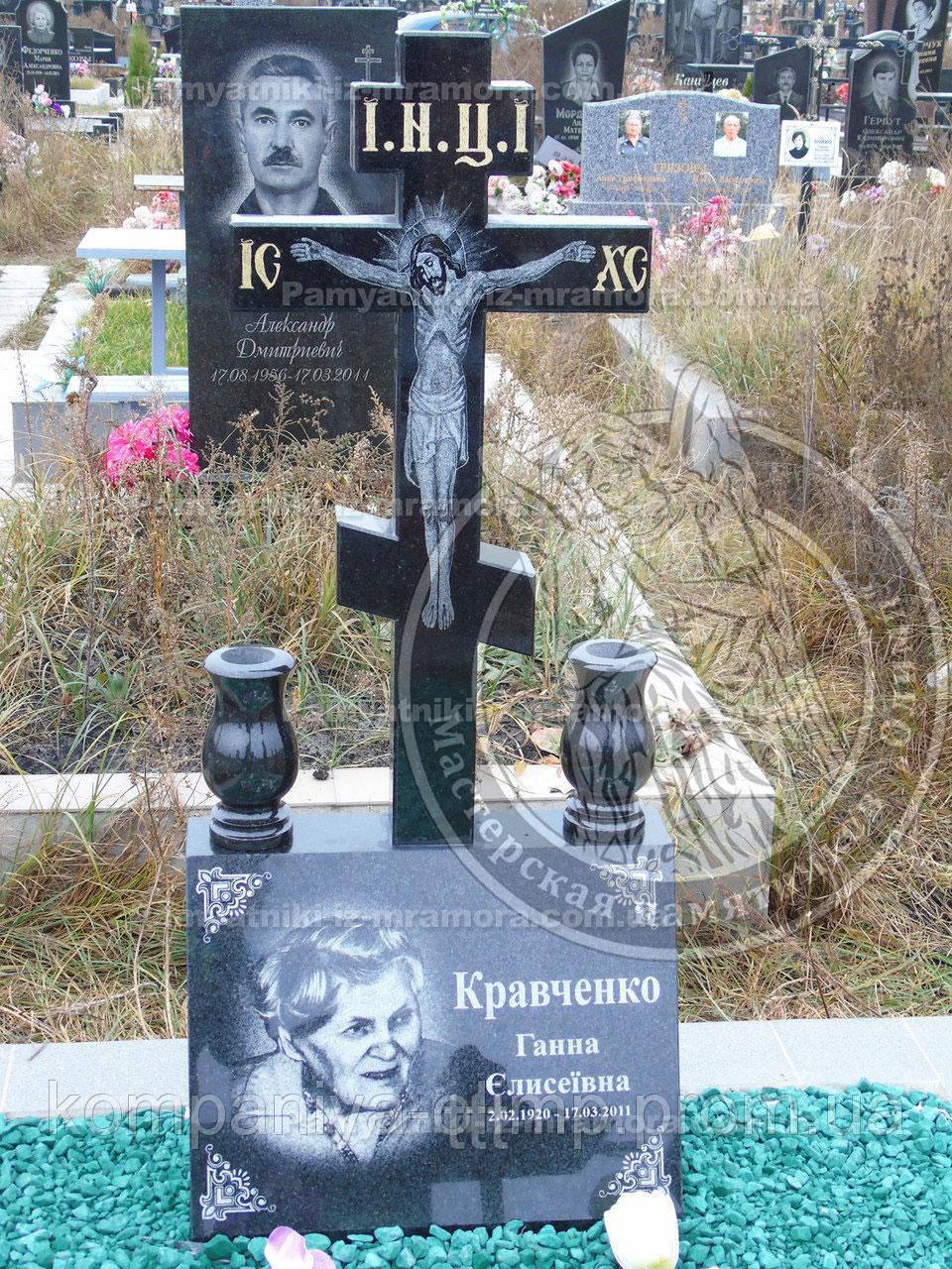 Памятник с крестом из гранита № 19