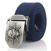Джинсовый пояс самосброс «Danger» 120-130 см королевский-синий