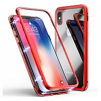 Накладка для iPhone XS Max Metal+Glass (магнітний) Червоний