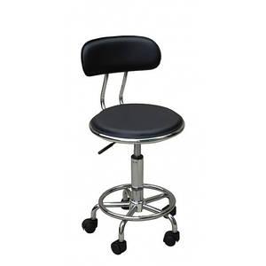 Стульчик мастера со спинкой, Кресло мастера HC-8028  черный