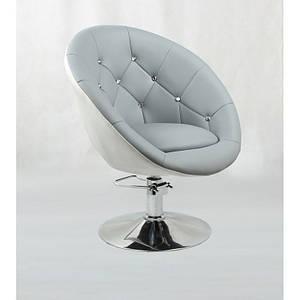 Кресло для клиента парикмахера  HC-8516H на гидравлике  белосерый
