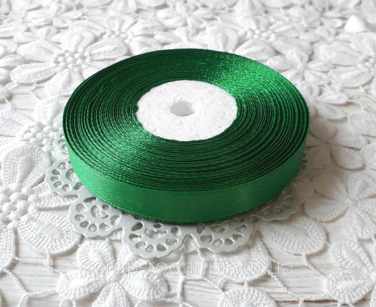 Лента атласная 1,2 см зеленая, лента зеленая атлас, лента атласная зеленая, цена за метр