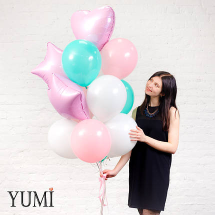 Нежная связка из шаров с гелием для девушки, фото 2