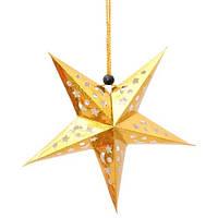 """Новогодняя гирлянда золотая 3D """"Звезда"""" - диаметр 30см, картон"""
