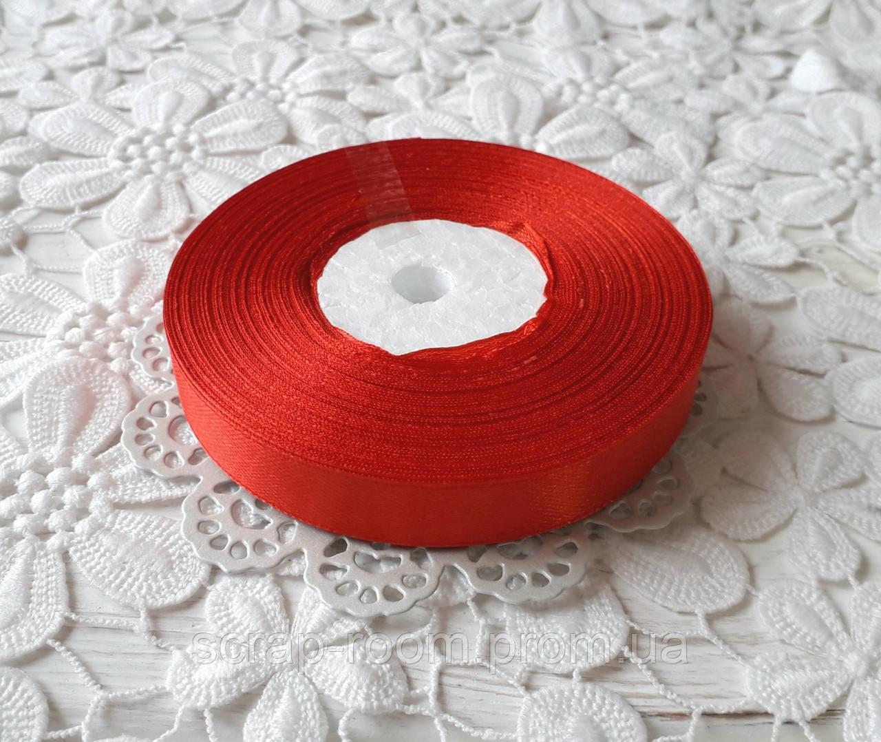Лента атласная 1,2 см  красная, лента цвет красный атлас, лента атласная красная, цена за метр