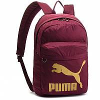 Рюкзак спортивный Puma Originals Fig-Gold 074799 11 (бордовый, не промокаемое днище, 20 литров, логотип пума)
