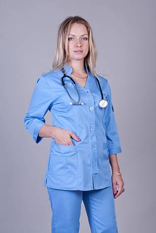 Медицинский женский костюм голубого цвета К-3207 ( коттон  42-64 р-р ), фото 2