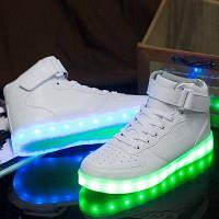Кроссовки высокие с LED подсветкой унисекс White A10a