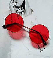 Круглые очки тишейды с цветной линзой Красный в золоте