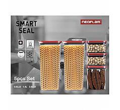 Neoflam набор для круп 5 шт 0.6L*2/ 1.4L/ 2.8L*2 контейнеры для хранения круп на кухне