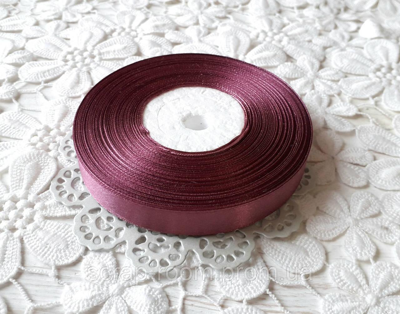 Лента атласная 1,2 см светло-бордовая, лента бордовая атлас, лента атласная бордовая, цена за метр