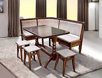 Комплект кухонный Семейный, уголок + стол (не раскладной) + 3 табурета, цвет орех, ткань berlin-03