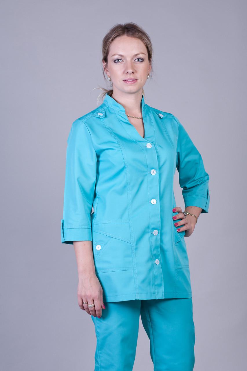 Бирюзовый медицинский женский костюм К-3204 ( коттон 40-64 р-р )