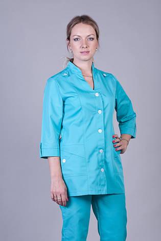 Бирюзовый медицинский женский костюм К-3204 ( коттон 40-64 р-р ), фото 2