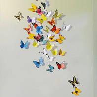 Интерьерная наклейка на стену бабочки 3д 3D разноцветные