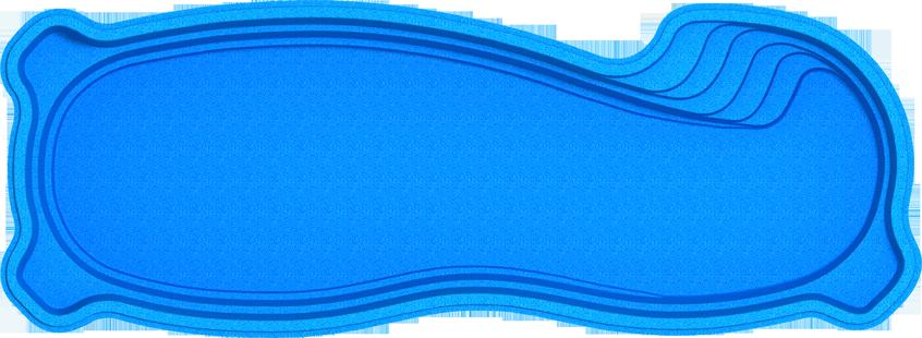 "Композитный бассейн ""Монако 10"" (длина: 10 м, ширина:3,6 м, глубина:1,25-1,9 м с перепадом глубины)"