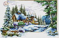 Набор для вышивки крестом Зимний пейзаж. Размер: 34*22 см