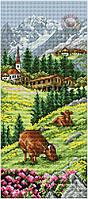 Набор для вышивки крестом Альпийский пейзаж. Размер: 14*32 см