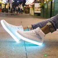 Кроссовки LED высокие White A10, фото 1