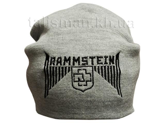 РАМШТАЙН (лого) шапка бини с вышивкой серая