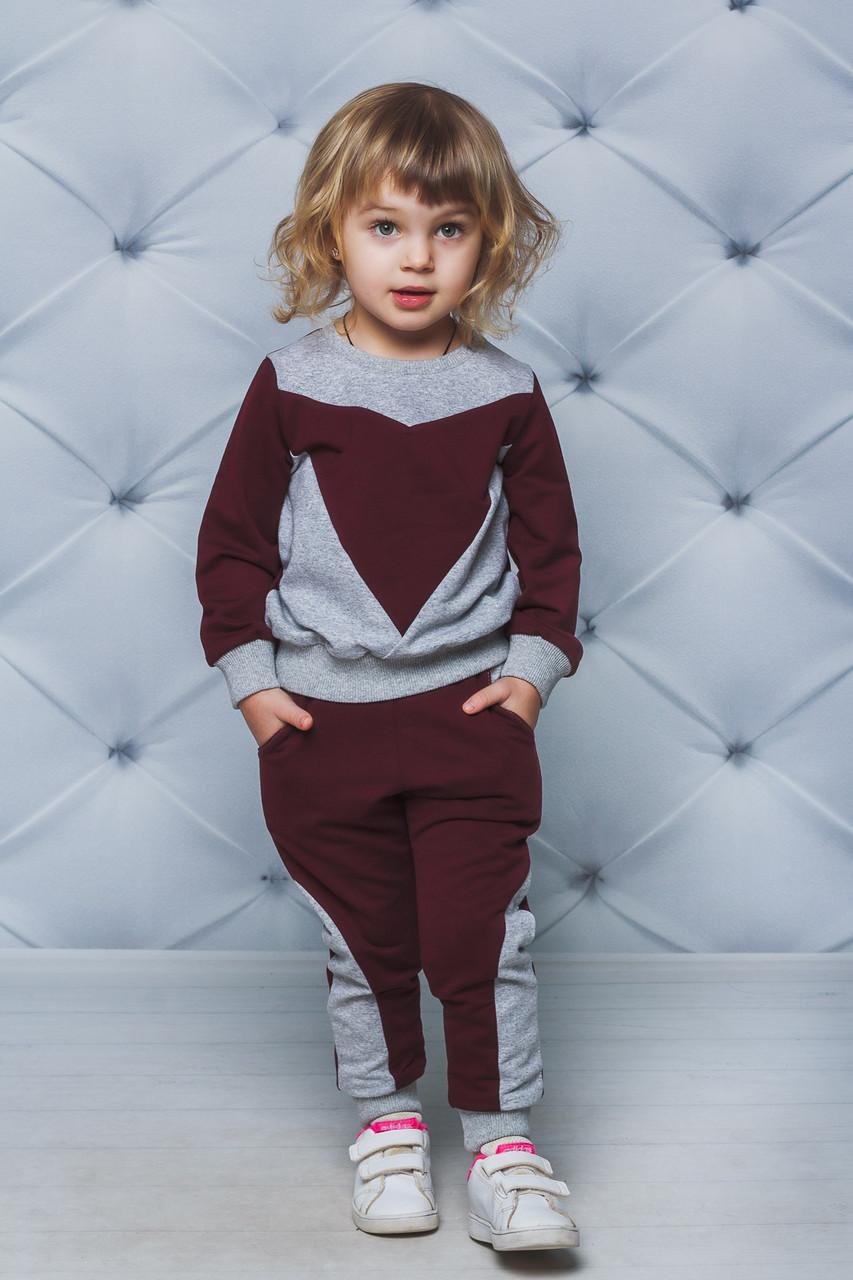 Детский спортивный костюм для девочки  Демисезонный Бордовый