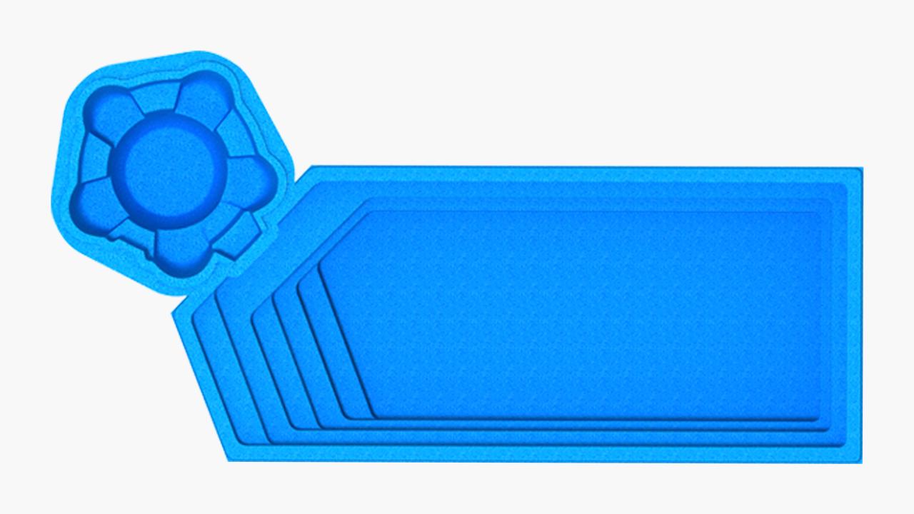 """Композитный бассейн """"АКВАпарк"""" (длина: 9,7м, ширина:4,3 м, глубина:1,1-1,55 м с перепадом глубины)"""