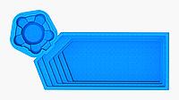 "Композитная чаша бассейна ""АКВАпарк"" (длина: 9,7м, ширина:4,3 м, глубина:1,1-1,55 м с перепадом глубины), фото 1"