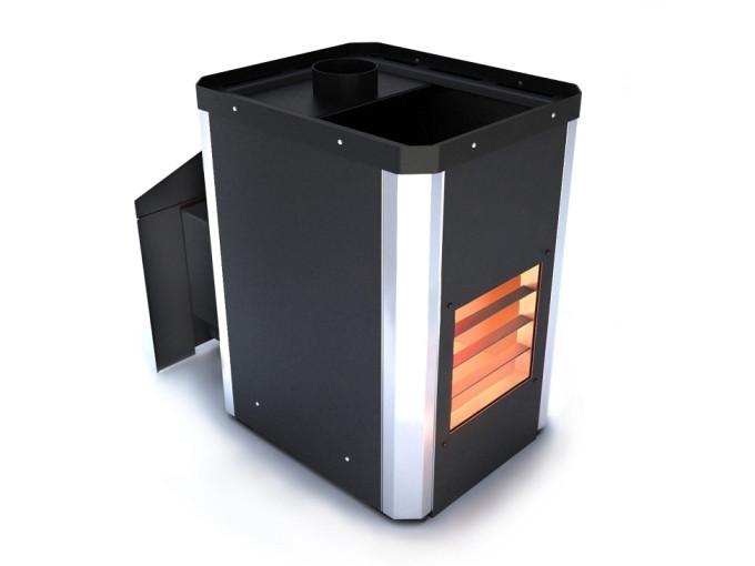 Дровяная банная печь Novaslav Визуал ПКС-01 В К (Кожух черный с вставками из нержавейющей стали)