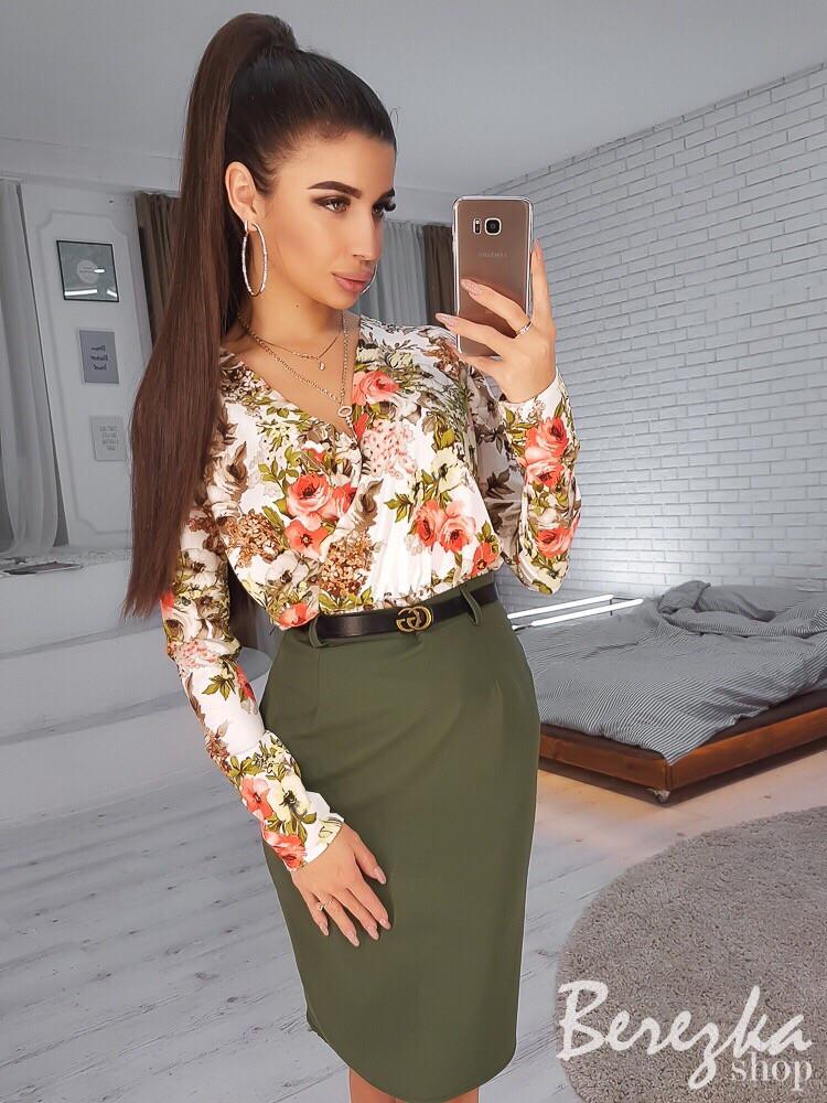 f4c9981aabb Костюм женский блуза цветочный принт и юбка карандаш разные расцветки  Kb1028 - Shoppingood в Харькове